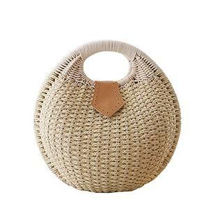 FAIRYSAN Frauen-Stroh-Schulter-Handtaschen-Reise-Feiertags-Einkaufen farbiger Ball-Korb Strandtasche Natürlicher Farbton