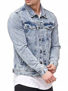 Indicode Herren Bryne Jeansjacke aus 98% Baumwolle | Moderne Jeans Jacke Herrenjacke Markenjacke Destroyed Washed Out Mens Denim Jacket Übergangsjacke Freizeitjacke für Männer Denim Blue M