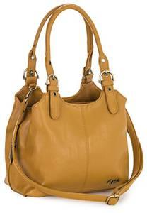 Big Handbag Shop Mehrfachtaschen Mittlere Größe Umhängetasche/Schultertasche für Frauen - Mit langem Schulterriemen - AMELIA (Mabel - Senf)