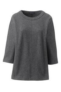 Wollmix-Pullover mit Rundhalsausschnitt in Petite-Größe, Damen, Größe: L Petite, Grau, by Lands'' End, Dunkelgrau-Meliert