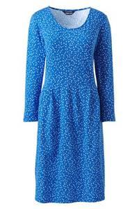Gemustertes Jerseykleid mit 3/4-Ärmeln in Petite-Größe, Damen, Größe: L Petite, Blau, by Lands'' End, Frisch Baikalblau Floral
