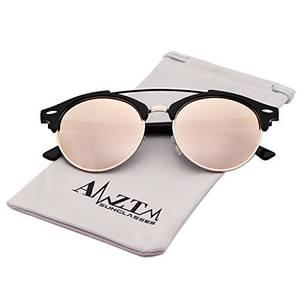 AMZTM Doppelbrücke Halbrand Klassisch Retro Polarisiert Verspiegelt Rund Sonnenbrille Damen Herren (Rosa, 51)