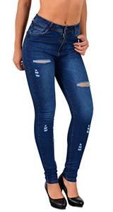 ESRA Damen Jeans Jeanshose Damen Skinny Stretch High-Waist Destroyed Risse Hose bis Übergröße S600
