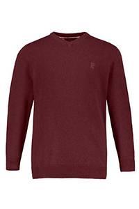 JP 1880 Herren große Größen Pullover, Basic-Form, V-Ausschnitt weinrot-Melange L 723418 80-L