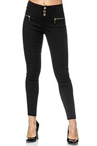 Elara Damen Stretch Hose High Waist Jeggings Chunkyrayan 2563 Black-38 (M)