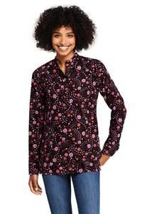 Kragenlose Feincord-Bluse, Damen, Größe: S Normal, Schwarz, by Lands'' End, Schwarz/Wassermelone Floral