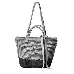 Frauen Stroh Umhängetasche Sommer Strand Tasche Tragetasche Baumwolle Futter Oben Griff Landstreicher Käufer Handtasche