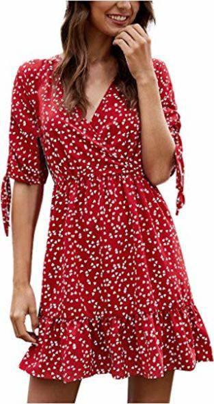 Outfits Mit Ansenesna Sommerkleid Damen V Ausschnitt Kurz Elegant Sommer Kleid Frauen A Linie Kurzarm Minikleid Strandkleider Rot M 1 Outfits Frauenoutfits De