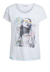 OUI T-Shirt weiß / grau