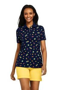 Piqué-Poloshirt Gemustert, Damen, Größe: XS Normal, Blau, Baumwolle, by Lands'' End, Tiefsee Früchte