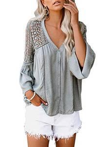 Astylish Damen Blusen, Spitze Häkeln, V-Ausschnitt und Glockenärmel, Button-Down-Shirts Beiläufige Lose Oberteil für Damen(Grau)