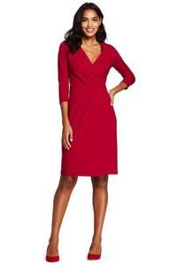 Ponté-Wickelkleid mit plissierter Taille in großen Größen, Damen, Größe: 52 Plusgrößen, Rot, Viskose-Mischung, by Lands'' End, Satt Rot