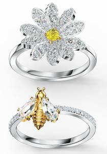 Swarovski Swarovski Ring-Set »Eternal Flower, gelb, 5534935, 5512661, 5534949, 5534937« (Set, 2 tlg.) goldgelb / silber