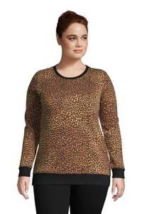 Sweatshirt in großen Größen, Damen, Größe: 48-50 Plusgrößen, Grün, Jersey, by Lands'' End, Wald Moos Buffalo Karo