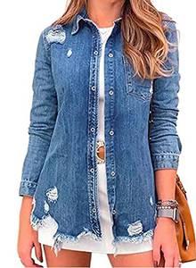 GOSOPIN Damen Jeansjacke Langarm Strickjacke Vintage Denim Mode Jeansmantel Outwear Streetwear (Blue, L)