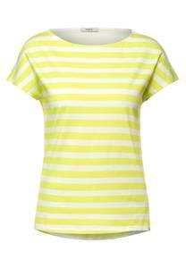 CECIL Damen T-Shirt mit Streifen Muster in Gelb,Weiß