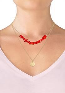 ELLI Halskette Layer, Plättchen, Koralle gold / rot