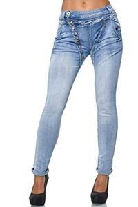 Elara Damen Jeans Boyfriend Baggy Knopfleiste Chunkyrayan C613M Hellblau 42 (XL)