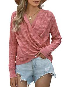 Dokotoo Damen Pullover Rosa Sexy V-Ausschnitt Langarmshirt Asymmetrisch Wickelpullover Pulli Oberteile Medium