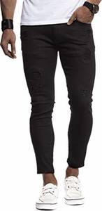 Leif Nelson Herren Jeans-Hose Slim Fit Moderne Denim Freizeithose für Männer Moderne Stretch weiße Jeanshose schwarz LN9100BL; W32L32, Schwarz