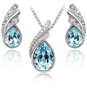 Crystalline Azuria Tropfenform Crystals from Swarovski Blau Simulierter Aquamarin Schmuck-Set Halskette Anhänger 45 cm Ohrringe 18 kt Weiß Vergoldet