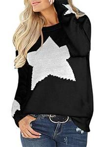 Cindeyar Damen Pullover Casual Rundhalsausschnitt Lange Ärmel Oberteile Cute Heart Strickpullover Sweatshirt (S, 001Schwarz)
