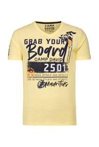 CAMP DAVID T-Shirt gelb / navy / weiß / pfirsich