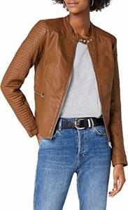 ONLY Damen onlHEART Faux Leather Jacket OTW NOOS Jacke, Braun (Cognac Cognac), Medium (Herstellergröße: 38)