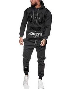 Leder Herren Jogging Anzug Jacke Sport Hose Fitness Hoodie Hose S16 S-XXL (M, anthrazit)