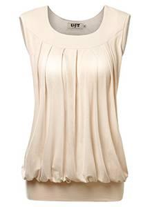 DJT Damen Casual Sommer Aermellos T-Shirt Falten Tops mit Rundhals Apricot S