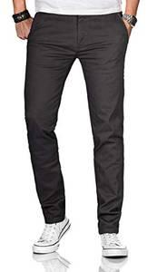 Maurelio Modriano Herren Designer Chino Stoff Hose Chinohose Stretch Regular Fit [MM-002-Anthrazit-W32-L32]