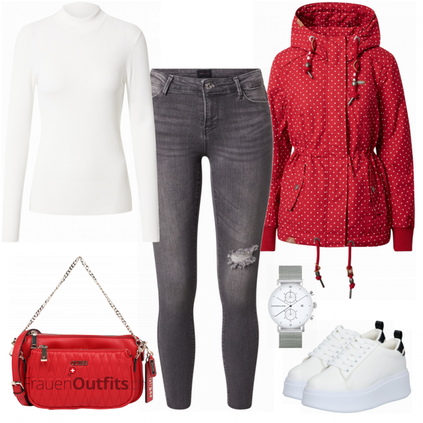 Roter Alltagslook FrauenOutfits.ch