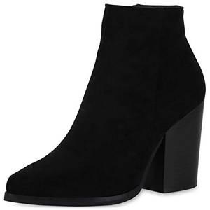 SCARPE VITA Damen Ankle Boots Leicht Gefütterte Stiefeletten Chunky High Heels Blockabsatz Schuhe Wildleder-Optik Booties 186384 Schwarz 38