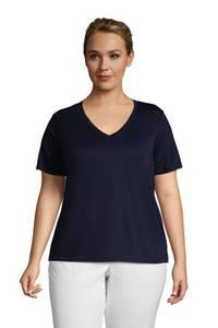 Supima Kurzarm-Shirt mit V-Ausschnitt in großen Größen, Damen, Größe: 48-50 Plusgrößen, Weiß, Baumwolle, by Lands'' End, Weiß