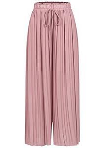 Styleboom Fashion® Damen Plissee Culotte Hose 2-lagig weiter Schnitt Old Rose