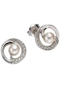 FIRETTI Perlenohrringe mit Zuchtperlen silber / perlweiß