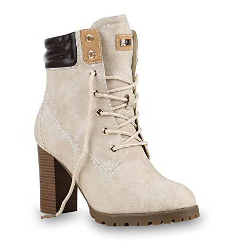 Damen Stiefeletten Outdoor Worker Boots Profilsohle Trendy 819909 Schuhe