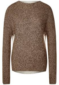 Street One Damen Pullover mit Mouliné in Braun