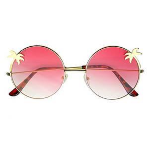 Emblem Eyewear– Damen Runde Sonnenbrille Palme Indie Hippie Verlaufslinse Sonnenbrille (Rosa)