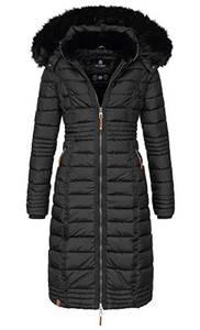 Navahoo Damen Wintermantel Mantel Steppmantel Winter Jacke lang Stepp warm Teddyfell B670 [B670-Uma-Schwarz-Gr.M]