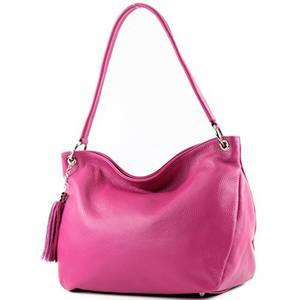 modamoda de - T154 - ital Schulter-/Umhängetasche aus Leder, Farbe:Pink