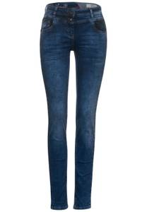 Mediumblauwe slim fit denim - dark blue used wash