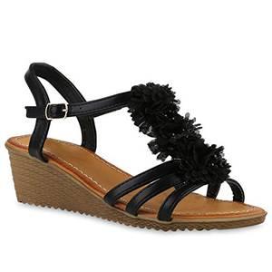 Damen Keilsandaletten Strass Sandalen Zierperlen Sommer Sandaletten Riemchensandalen WedgesKeilabsatz Schuhe 143291 Schwarz 38 Flandell