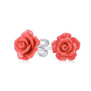 3D-Pfirsich Orange Wollte Rose Blume Ohrstecker Für Damen Für Jugendlich Für Mutter Versilbert Post