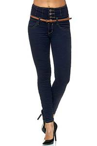 Elara Damen Jeans Skinny High Waist Hose mit Gürtel und Push Up Effekt Chunkyrayan 1577 Blue-34 (XS)