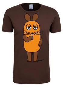 LOGOSHIRT T-Shirt ''Die Sendung mit der Maus'' dunkelbraun
