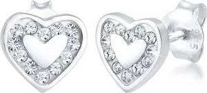 Elli Paar Ohrstecker Kinder Herz Hänger Swarovski Kristalle 925 Silber