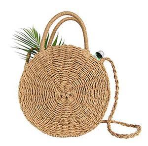 Stroh Crossbody Tasche Frauen Weben Umhängetasche Runde Sommer Strand Geldbörse und Handtaschen