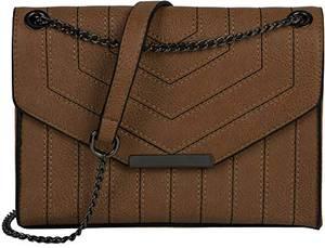 styleBREAKER Damen Umhängetasche mit Ziernähten und Kette, Schultertasche, Handtasche, Tasche 02012308, Farbe:Braun