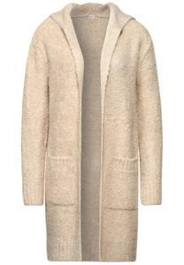 Bouclé gebreid vest met capuchon - knit shiny sand melange